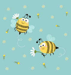 cute bees flying with flowers background vector image