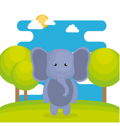 Cute elephant in the field landscape character vector