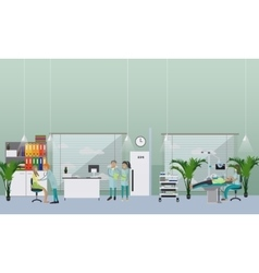 Dental clinic interior concept Dentist works with vector image