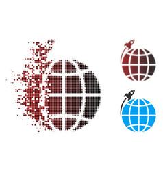 dispersed pixel halftone planet satellite launch vector image