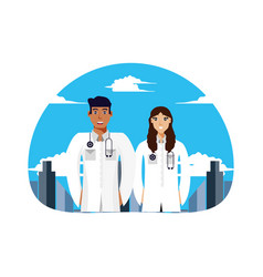 Doctors professionals couple with cityscape vector