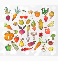 Doodle fruits and vegetables on white glowing vector