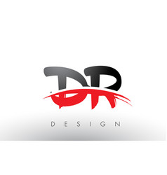 Dr d r brush logo letters with red and black vector