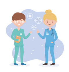 Female and male surgeons occupation uniform vector