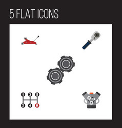 Flat workshop set of carrying motor lifting and vector