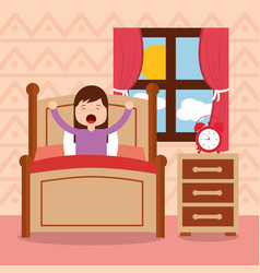 Girl in bed waking up in the morning vector