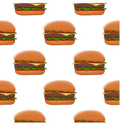 Hamburger colored drawing as seamless pattern vector