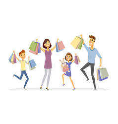 Happy family enjoys shopping - cartoon people vector