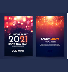 happy new 2021 year flyer design template set with vector image