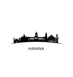 Havana city skyline black cityscape isolated vector