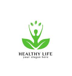 Healthy life logo design in green color human in vector