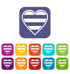 Heart lgbt icons set vector