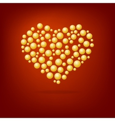 Heart of gold bubbles Valentines Day vector