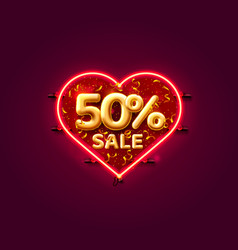 heart sale 50 off ballon number on white vector image