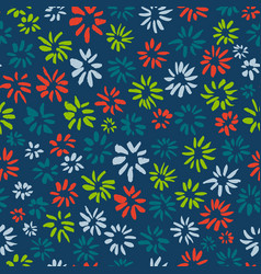 ink seamless pattern with flowers in sketchy vector image