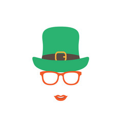 Irish girl in green hat and orange glasses vector
