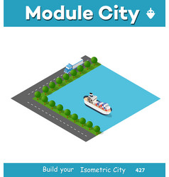 isometric port cargo ship vector image