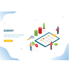 Isometric survey people on clipboard with vector