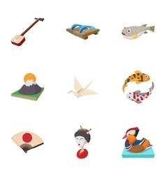 Japan icons set cartoon style vector