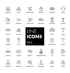line icons set logistics vector image