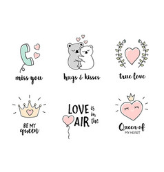Love doodles set hand drawn valentines day quotes vector