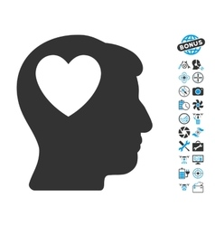 Love heart think icon with air drone tools bonus vector