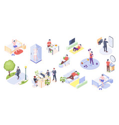Man daily life activity home and office isometric vector