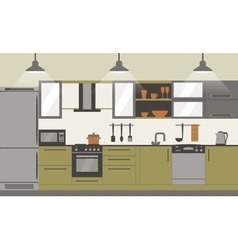 Modern kitchen interior flat design vector image