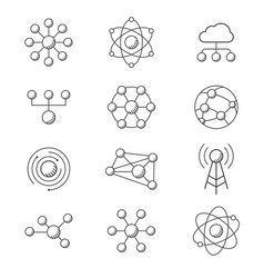 molecule model line set structure molecules vector image