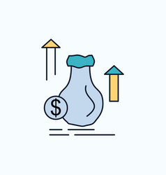 money bag dollar growth stock flat icon green and vector image