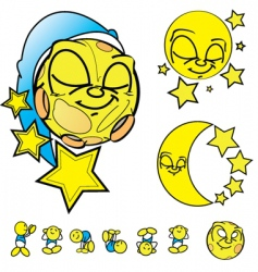 Moon faces vector