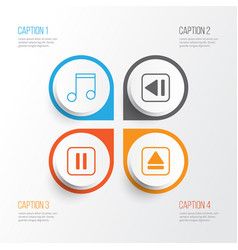 Music icons set collection of extract device vector