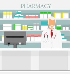 old man senior pharmacist in pharmacy or drugstore vector image