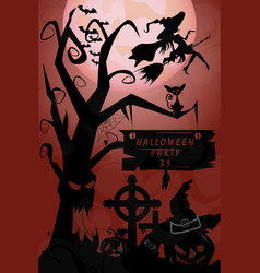 old wood cemetery a holiday in october halloween vector image
