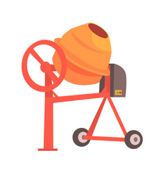 Orange concrete mixer colorful cartoon vector