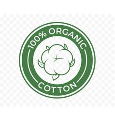 Organic cotton icon 100 natural bio and eco vector