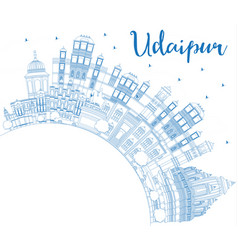Outline udaipur india city skyline with blue vector