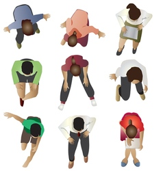 People sitting top view set 3 vector image