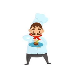 professional chef with mustache decorating dish vector image