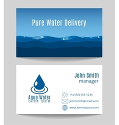 Pure water delivery business card template vector
