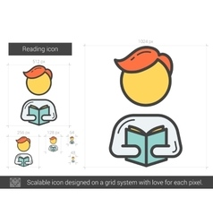Reading line icon vector image