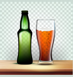 Realistic bottle and goblet with dark beer vector