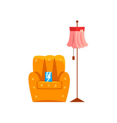 Retro armchair and floor lamp old unnecessary vector