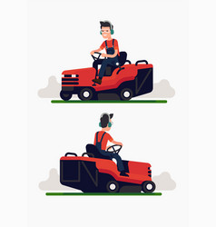 ride-on mower vector image
