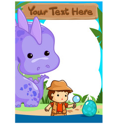 Science kids camping with dinosaur poster vector