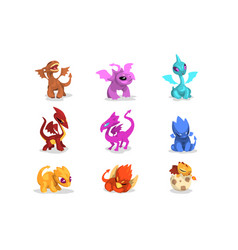 Set colorful dragons in flat style cartoon vector