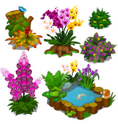 Set of elements for design garden or an infield vector