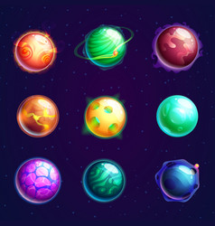 Set of isolated cartoon planets with satellites vector