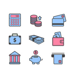 Set of payment money icons isolated vector