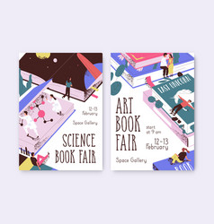 Set posters for science and art book fair vector
